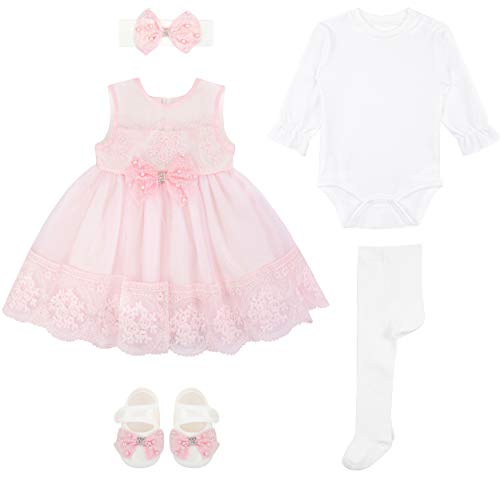 034cd219ec Special Occasion – Baby Girl Newborn Pink Embroidered Princess Dress Gown 6  Piece Deluxe Set 0-3 Months