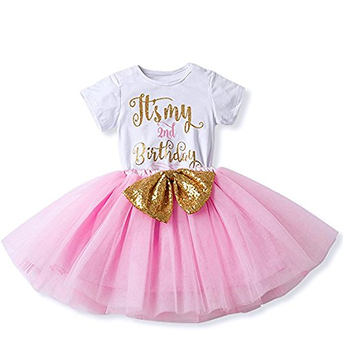 158a9a3ff Special Occasion – IBTOM CASTLE Girl Newborn It's My 1st/2nd Birthday  Shinny Printed Tutu Princess Dress Onesie Outfit Set Pink (2 Years)