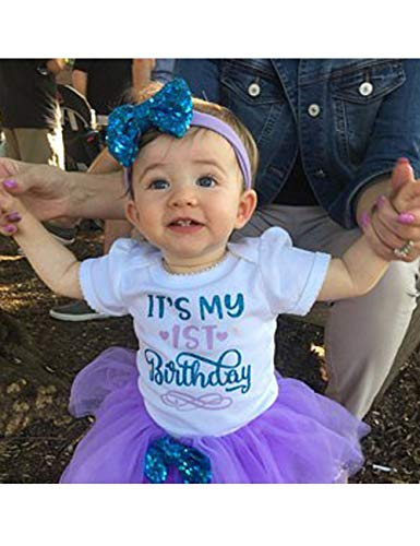 70d12beec2a9 Special Occasion – Newborn Baby Girls It s My 1st Birthday Infant Outfits  Romper Shiny Printed Sequin Bowknot Tutu Skirt Dress Purple (12months)  Offers