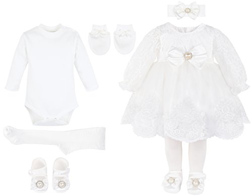 0c3c48114 Special Occasion – T.F. Taffy Taffy Baby Girl Newborn Christening Baptism  Lace White Dress Gown 6 Piece Deluxe Set 0-3 Months