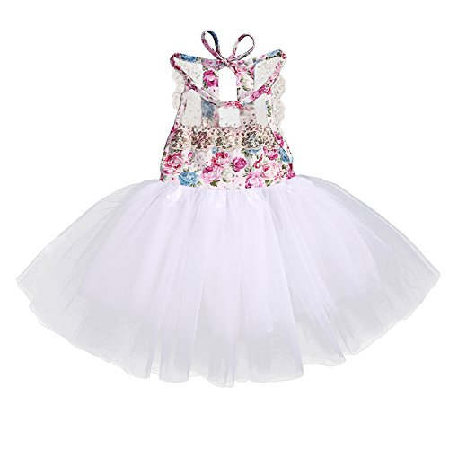1ba5a055f5ad Playwear – Baby Girl Floral Lace Tutu Dress Sleeveless Summer Tulle  Sundress (6-12 Months, White)