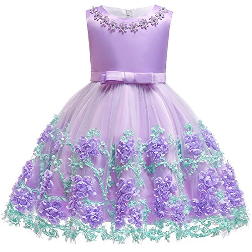 ea9ea72600c0d Special Occasion – Formal Dresses for Girls 6 Years Ball Gown Sleeveless Floral  Girl Dress Size 5-7 Light Purple Graduation Holiday Dress for Kids Knee ...