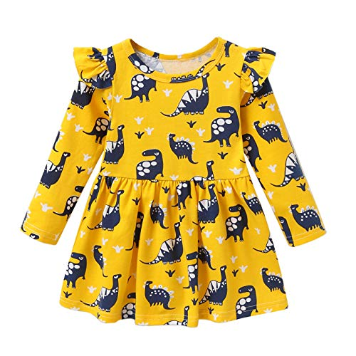 a6c67a44f Playwear – Fozerofo Toddler Baby Girl Dress Dinosaur Print Long Sleeve  Casual Dress Outfit Clothes