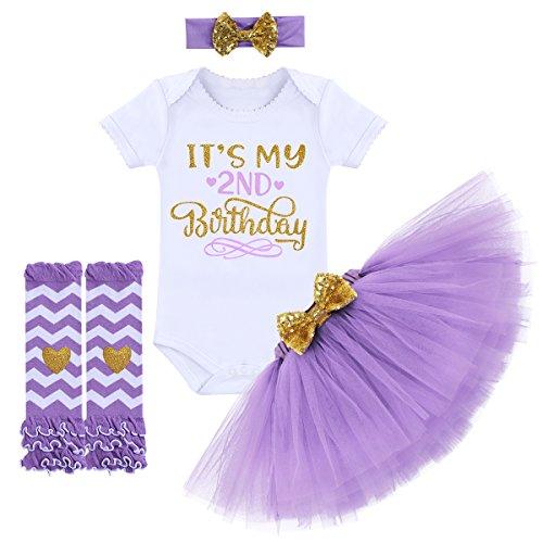 79d442919 IMEKIS Baby Girls Romper Suit Princess Ruffle Bowknot Dress Wedding Pageant  Communion Party Tutu Dresses Purple 2nd Birthday 2 Years Offers