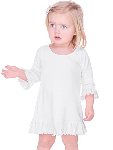 5bf4083b04509 Playwear – Kavio! Infants Girls Ruffled 3/4 Sleeve A-Line Dress White 18M