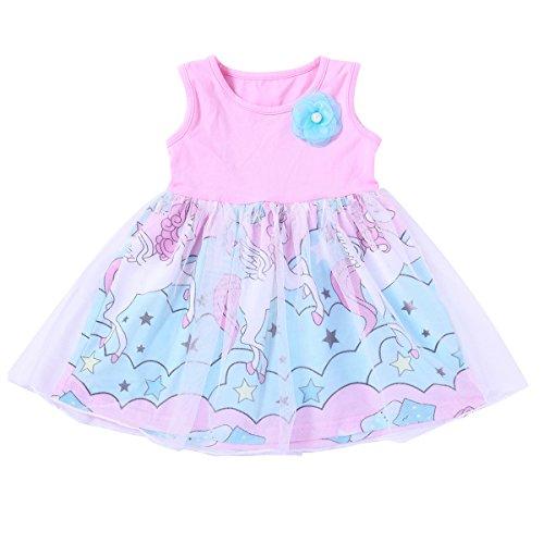 Playwear – puseky Baby Girl Dress Cartoon Pegasus Sleeveless