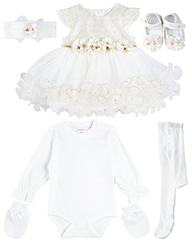 7a7a20a900 Special Occasion – Taffy Baby Girl Newborn Gold Glitter Floral Dress Gown 6