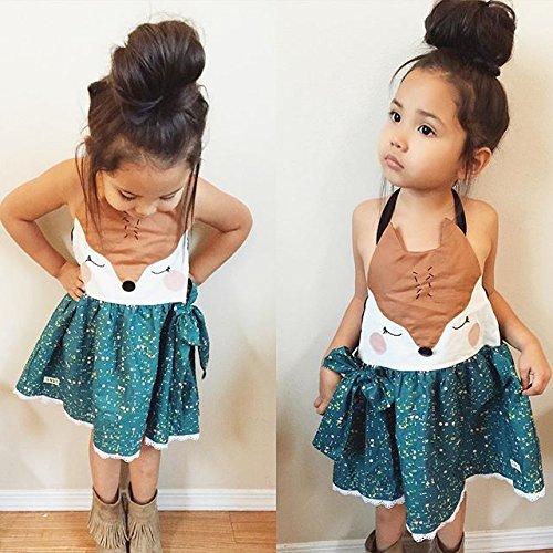 a88f664e5d2 Playwear – Toddler Baby Kids Girls Cute Fox Lowrie Summer Sleeveless  Backless Halter Dress Little Dots Bowknot Dress (Blue