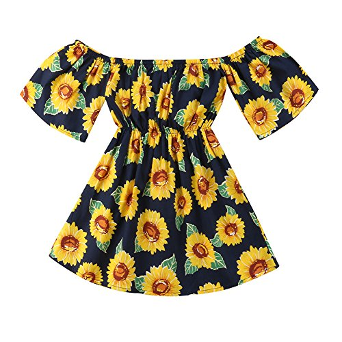 7369744d6e7 Playwear – Yokidi 1-6T Little Girl Dress Toddler Girl Off Shoudler Sunflower  Summer Dress